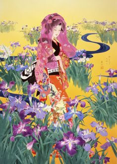 Japanese artist, Haruyo Morita, worked as a kimono painter and designer until 1972 before turning to painting canvases. Now an acclaimed artist, her work has been exhibited and sold worldwide. - Syoubu by MGL Meiklejohn Graphics Licensing Art Geisha, Geisha Kunst, Japanese Art Styles, Japanese Prints, Asian Artwork, Art Chinois, Art Asiatique, Art Japonais, Korean Art