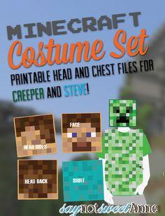 Easy Printable DIY Creeper and Steve costumes! | saynotsweetanne.com | #halloween #minecraft #costume More