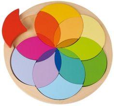 "Puzzle ""Flower Circle"" Solid wooden shape puzzle."