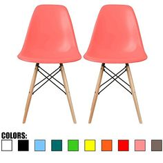 2xhome - Set of Two (2) Pink - Eames Side Chair Eames Chair Pink Seat Natural Wood Wooden Legs Eiffel Dining Room Chairs No Arm Arms Armless Molded Plastic Seat Dowel Leg