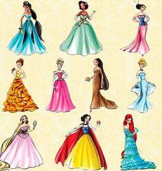Jasmine, Tiana, Mulan, Belle, Aurora, Pocahontas, Cinderella, Rapunzel, Snow White, Ariel.