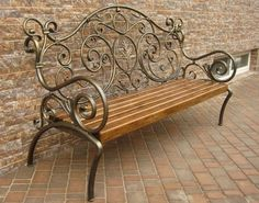 Metal bench frame with wood seat