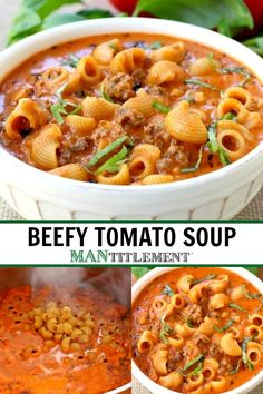 BEEFY TOMATO SOUP is our most popular soup recipe! This comforting, beef and mac… BEEFY TOMATO SOUP is our most popular soup recipe! This comforting, beef and macaroni soup will be on your permanent dinner menu! Beefy Tomato Soup Recipe, Tomato Soup Recipes, Pasta Recipes, Cooking Recipes, Good Soup Recipes, Can Soup Recipe, Macaroni Soup Recipes, Canned Tomato Soup, Beef Soup Recipes