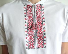 Items similar to High quality mens ukrainian vyshyvanka t-shirt. Gift from Ukraine on Etsy Ethno Style, Embroidered Shorts, Loose Fitting Tops, T Shirt And Shorts, Couple Shirts, Summer Shirts, Modern Man, Embroidery Designs, Ukraine