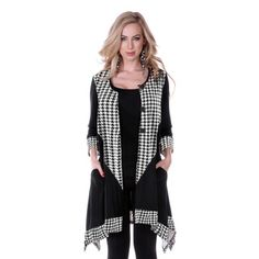 Women's Houndstooth Long-sleeve Button-up Top   Overstock.com Shopping - Top Rated Long Sleeve Sweaters