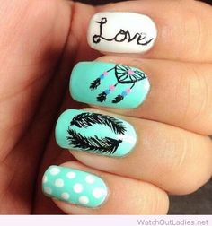 Love manicure in blue and white