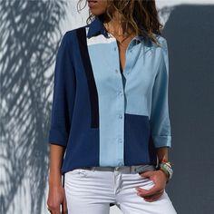 c99c24462bb Women Blouses Fashion Long Sleeve Turn Down Collar Office Shirt Chiffon  Blouse S
