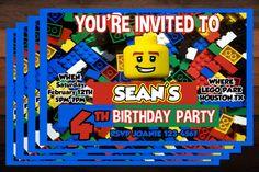 Lego's Birthday Party Invitations  by BEANSandRICEdesigns on Etsy, $8.00