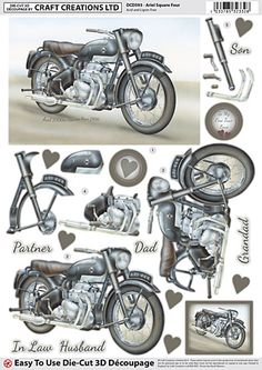 Craft Creations A4 die cut decoupage - Ariel Square Four, Motorcycle