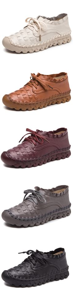Socofy SOCOFY Casual Handmade Stitching Leather Lace Up Flat Casual Shoes is cheap and comfortable. There are other cheap women flats and loafers online. Women's Shoes, Cute Shoes, Slip On Shoes, Me Too Shoes, Shoe Boots, Flat Shoes, Comfy Shoes, Comfortable Shoes, Casual Shoes