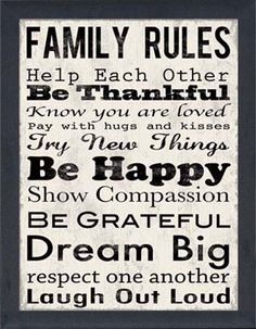 ..family rules too..