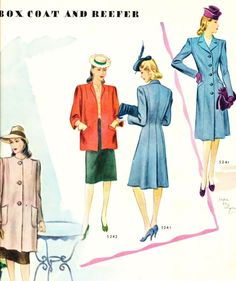 what-i-found: The Look Of Spring - Box Coat And Reefer - 1943 McCalls Magazine