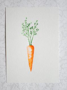 Carrot Original Watercolor  Food Kitchen Art Print Wall by ARTsvit