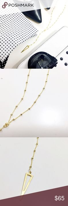 """Dainty Geometric Y Necklace 18K gold plated sterling, 18"""" long + 2"""" extender, 4.5"""" drop. NWT Argento Vivo Jewelry Necklaces"""