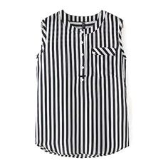 Round Neck Sleeveless Striped Button Shirt ($14) ❤ liked on Polyvore featuring tops, round neck top, no sleeve shirt, shirt top, sleeve less shirts and sleeveless tops