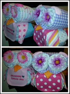 Made these owl diaper cakes for my sisters baby owl shower.