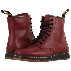 Dr. Martens Newton 8-Eye Boot (Cherry Red Temperley) Lace-up Boots (£96) ❤ liked on Polyvore featuring shoes, boots, ankle boots, slip resistant shoes, laced boots, bootie boots, bootie shoes and short boots