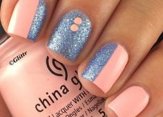 awesome Cute and Easy Nail Art Designs That You Will Love - Nail Polish Addicted Fancy Nails, Love Nails, Diy Nails, How To Do Nails, Glitter Nails, Blue Glitter, Simple Nail Art Designs, Cute Nail Designs, Accent Nail Designs