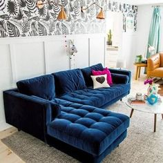 Awesome Sofa Living Room Furniture Design Ideas - Page 23 of 26 Blue Couch Living Room, Living Room Sofa Design, Interior Design Living Room, Living Room Designs, Living Room Decor, Living Rooms, Peacock Living Room, Home Design, Salon Design