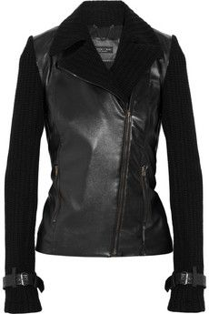 Faux-leather & cable knit motorcycle jacket.
