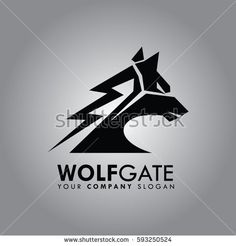 Abstract Wolf Illustration head logo design vector for company
