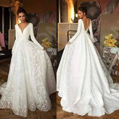 Wedding Dresses For Maids, Wedding Dress Winter, Christmas Wedding Dresses, Long Sleeve Bridal Dresses, Best Wedding Guest Dresses, V Neck Wedding Dress, Wedding Dress Trends, Long Sleeve Wedding, Bridal Gowns