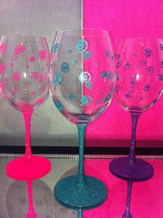 788c25e13c1 Swirly glitter design wine glasses. Pink Star Sparkles
