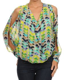 This Lime Cutout Surplice Top - Women by Karen T. Design is perfect! #zulilyfinds