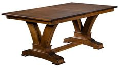 Amish Vincent Trestle Extension Dining Table The Vincent is a vision for dining rooms. Custom build. Solid wood. Amish made in America. This dining table has strength, durability and beauty in every inch. #diningtables
