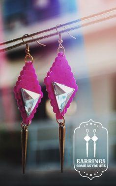 Hot Pink Dark Spirit Earrings Dark Spirit, Victorian Gothic, Hot Pink, Chokers, Fashion Jewelry, Drop Earrings, Trendy Fashion Jewelry, Pink, Drop Earring