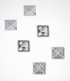 PYRAMID STUD AND SQUARE POST EARRING SET at Express #ExpressJeans