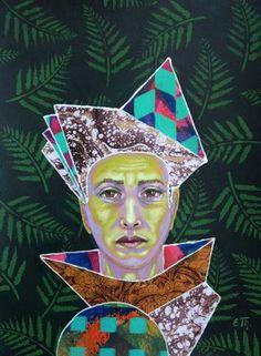 Original Portrait Painting by Elke Thiebaut Original Paintings, Original Art, Deco, Portrait, Artwork Online, Buy Art, Saatchi Art, Collage, Hand Painted