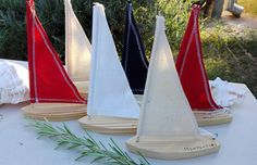 6 Saiboats wooden Wooden Sailboat wedding decor table