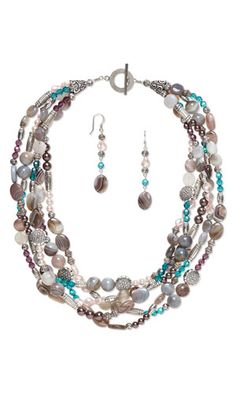 Multi-Strand Necklace and Earring Set with SWAROVSKI ELEMENTS, Botswana Agate Gemstone Beads and Antiqued Silver-Finished Copper-Coated Plastic Beads