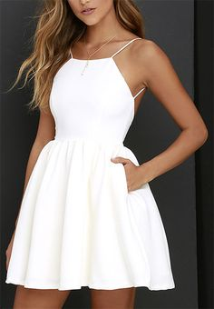 Sexy White Spaghetti Straps Homecoming Dresses, Open Back Mini Prom Dresses – Graduation Dress Sexy Homecoming Dresses, Hoco Dresses, Pretty Dresses, Sexy Dresses, Beautiful Dresses, Elegant Dresses, Short White Dresses, Wedding Dresses, Simple Short Dresses