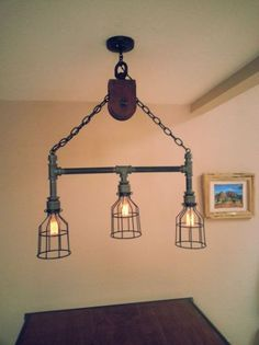 Best ideas about Industrial Pipe Lighting Diy, Lighting . Pipe Lighting, Rustic Lighting, Industrial Lighting, Rustic Industrial, Cool Lighting, Lighting Ideas, Garage Lighting, Lighting Concepts, Shabby Chic Living Room