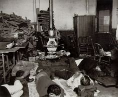 Jacob Riis Men's Lodging Room in the West 47th Street Station c. 1892