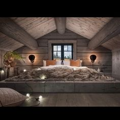 Cabin Loft, Inside Outside, Daybed, Small Spaces, Bedroom Decor, Lofts, Interior, Bedrooms, Decorating Ideas