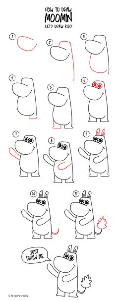 How to draw Moomin. Easy drawing, step by step, perfect for kids! Let's draw kids.