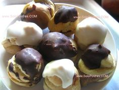 Profiteroles, bombas rellenas de crema de chocolate