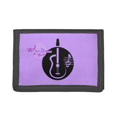 MoonDreams Music Guitar Trifold Wallet #trifold #wallet #purple #black #guitar #accessories