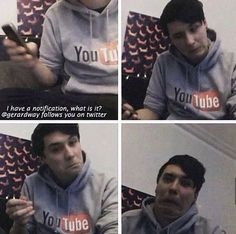 Dan's reaction the Gerard Way, lead singer of MCR following him on twitter