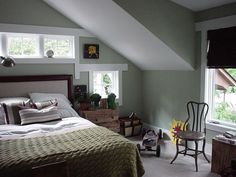 Love beds tucked under sloped ceilings. Love looking out 2nd floor windows.  So cozy.