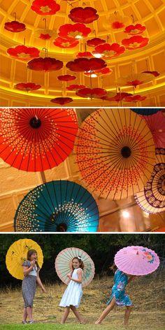 decoración son sombrillas chinas