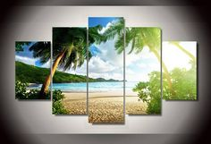 Framed Printed beach palm tree Group Painting children's room decor print poster picture canvas Free shipping frames wall art