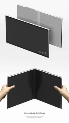 Folding laptop unfolds to share memories Flexible Oled, Flexible Display, Id Design, Graphic Design, Future Gadgets, Yanko Design, Hardware Software, Ipad, Technology Gadgets