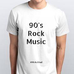 #MrActitudCamisetas White Man Colección Rock music 90s & 80s Playeras #MrActitud Blanco hombre O 90s Crew - designed by mractitud using Snaptee