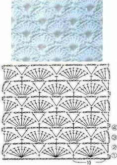 Crochet Patterns Wear For colored scarf Hexagon Crochet Pattern, Crochet Motifs, Crochet Diagram, Crochet Stitches Patterns, Crochet Chart, Crochet Designs, Crochet Baby, Free Crochet, Stitch Patterns