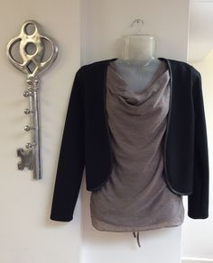 Sheer brown ruffle neck vest top £36.00 with our short black blazer £28.00 for the smart casual look... - FREE DELIVERY