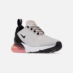 Three Quarter view of Women's Nike Air Max 270 SE Casual Shoes in Light Bone/Black/Storm Pink/Summit Nike Air Shoes, Air Max Sneakers, Slip On Sneakers, Sneakers Nike, Nike Air Max For Women, Nike Women, Cute Shoes, On Shoes, Hipster Shoes